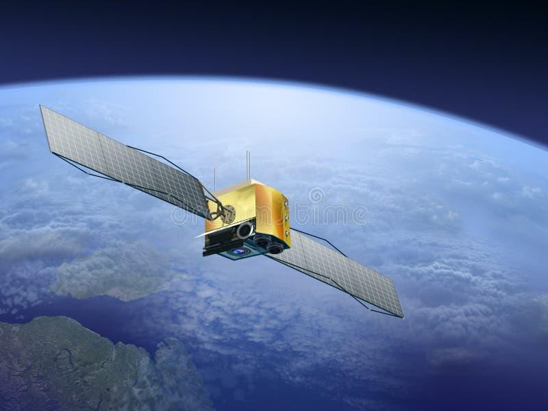 Satellite sopra la terra illustrazione di stock