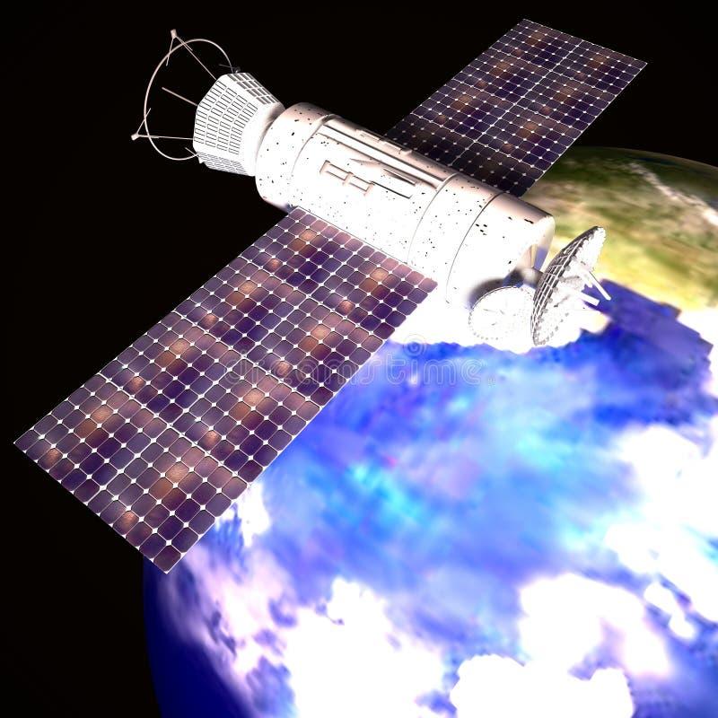 Satellite sopra terra illustrazione di stock