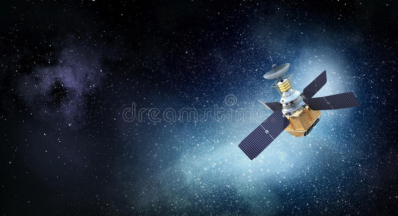 Satellite in space . Mixed media. Space satellite orbiting the earth. Elements of this image furnished by NASA stock image