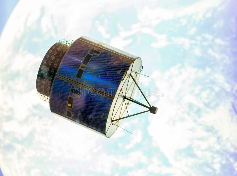 Satellite in space orbit royalty free stock photography