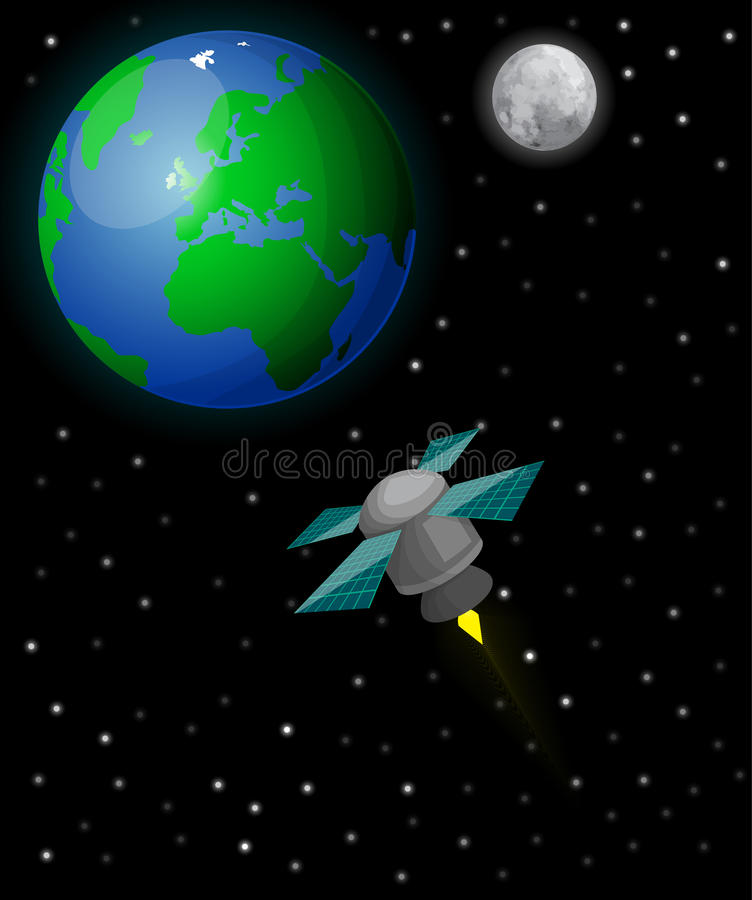 Satellite in space royalty free illustration