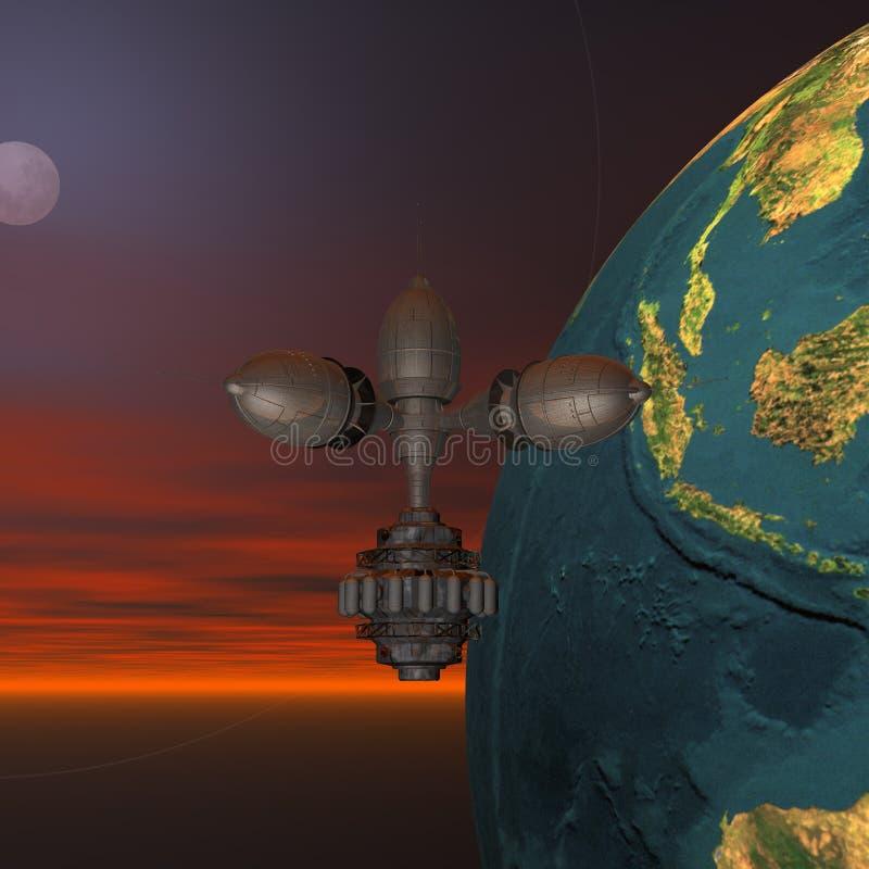 Satellite Sputnik Orbiting Earth Stock Photos