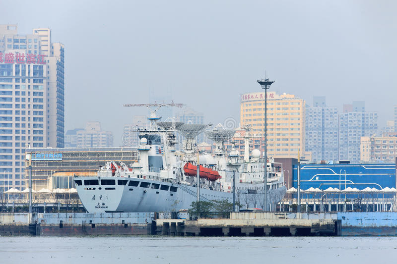Satellite tracking vessel docked in port Shanghai, China royalty free stock photography