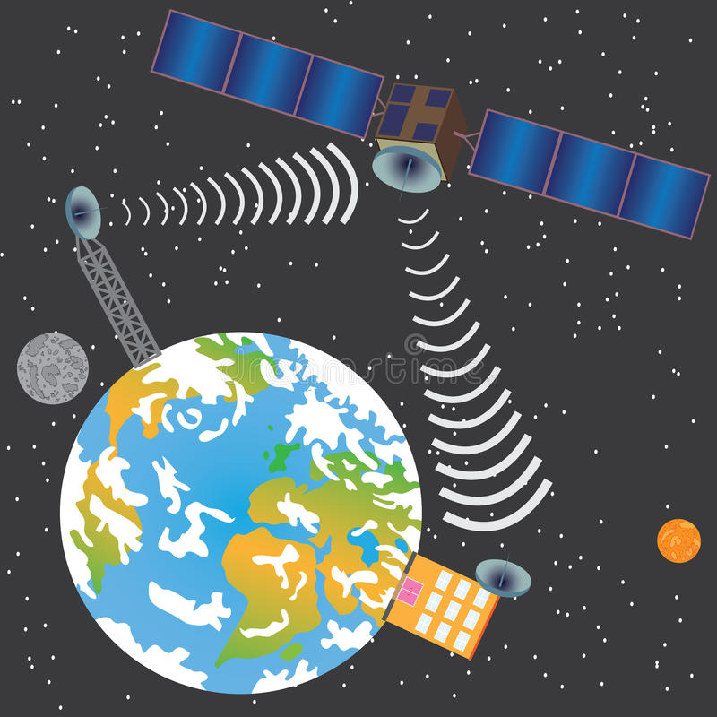 Satellite transmitting signal stock illustration