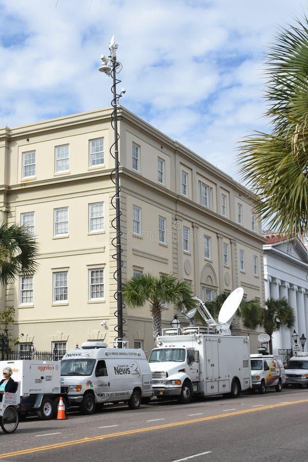 Satellite Trucks In Charleston, South Carolina Editorial Photography