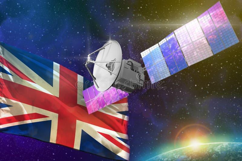 Space communications technology concept - satellite with United Kingdom UK flag, 3D Illustration. Satellite with United Kingdom UK flag, space communications royalty free illustration