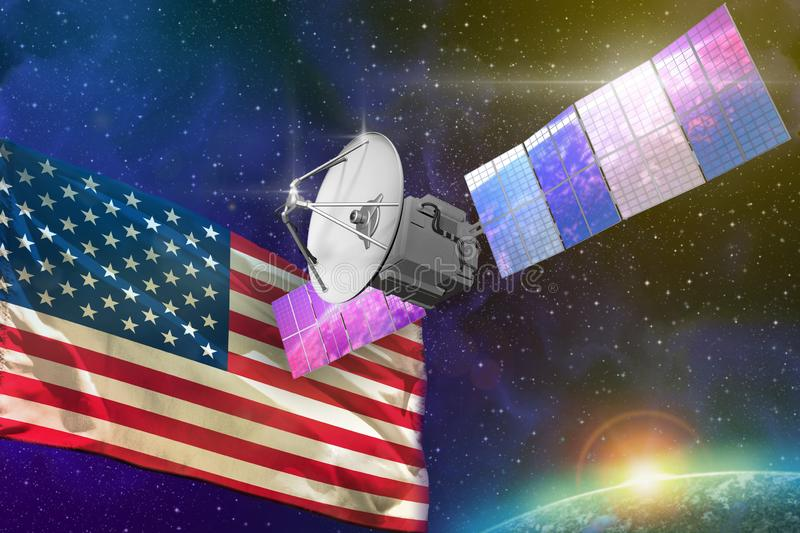 Space communications technology concept - satellite with USA flag, 3D Illustration stock illustration