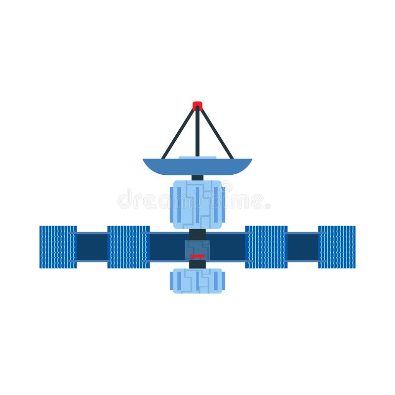Satellite vector icon communication dish space. Antenna global earth GPS cosmos orbit. Astronomy solar planet station stock illustration