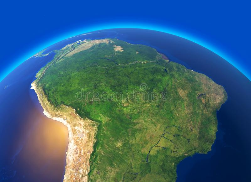 Satellite view of the Amazon, map, states of South America, reliefs and plains, physical map. Forest deforestation. 3d rendering. Element of this image is stock photos