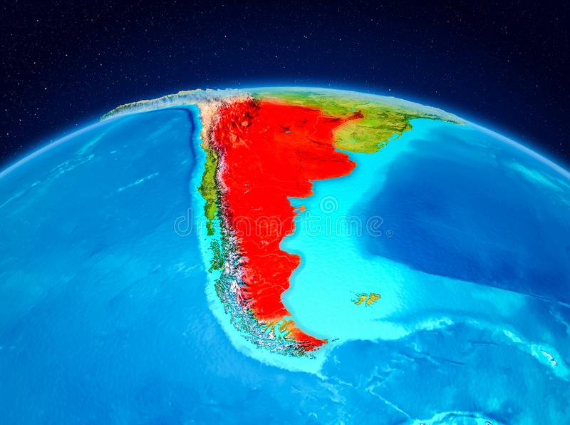 Argentina from orbit. Satellite view of Argentina highlighted in red on planet Earth. 3D illustration. Elements of this image furnished by NASA stock illustration
