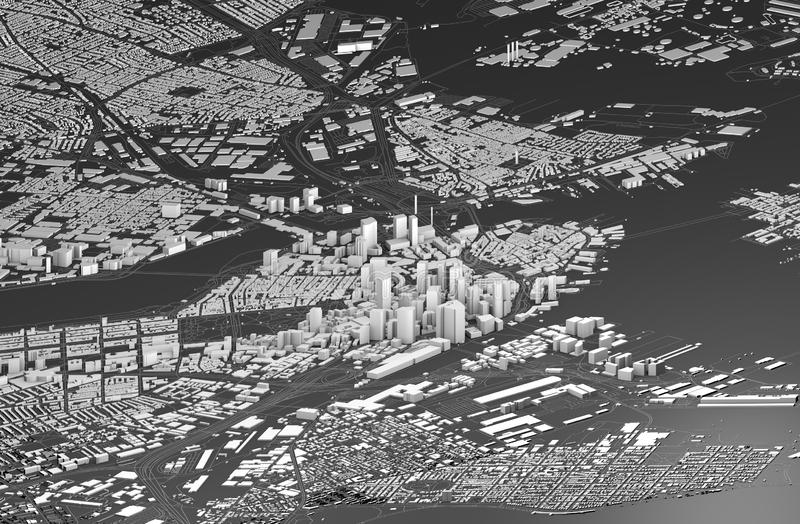Satellite view of Boston, map of the city with house and building. Skyscrapers. Massachusetts. Usa stock illustration