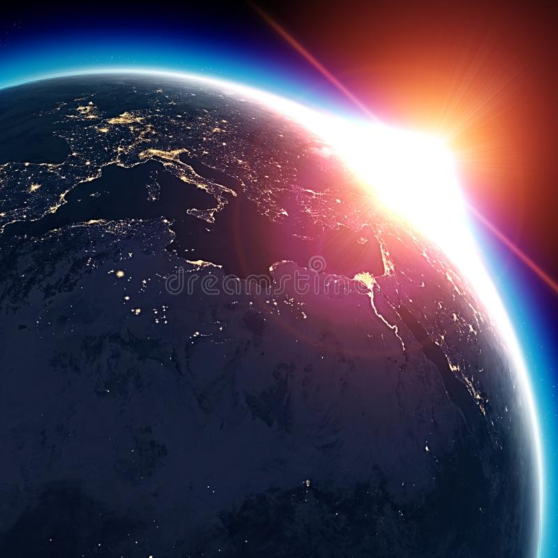 Satellite view of the Earth seen from space. The sun rising over the Europe and north Africa royalty free illustration
