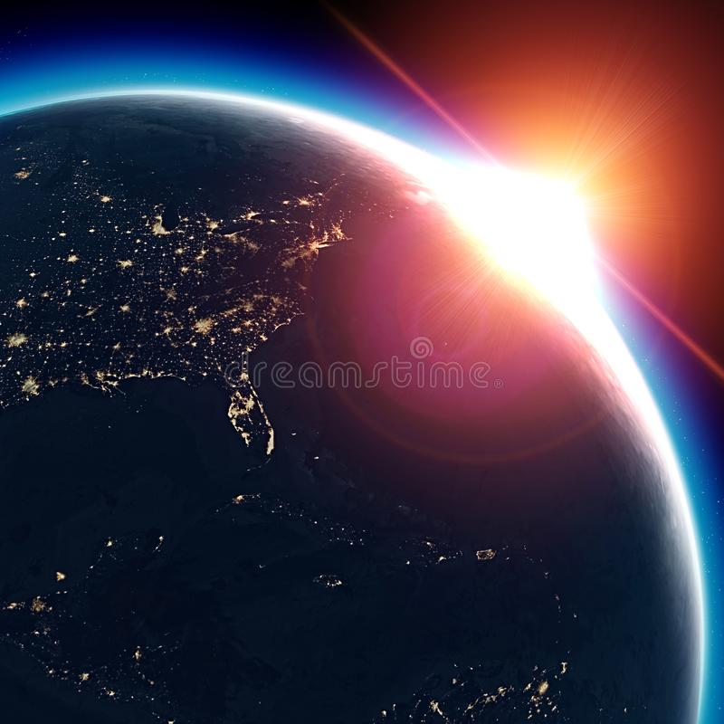 Satellite view of the Earth seen from space. The sun rising over the United States stock illustration