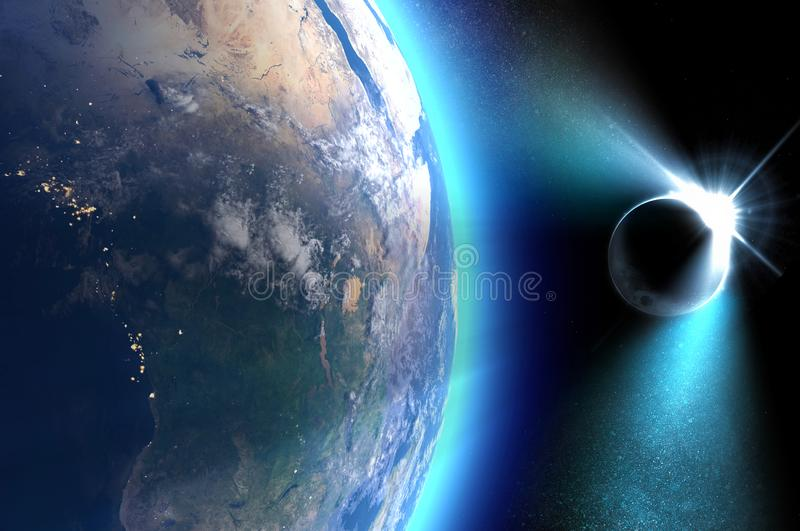 Satellite view of the Earth during a solar eclipse. It occurs when an observer on Earth passes through the shadow cast by the Moon vector illustration