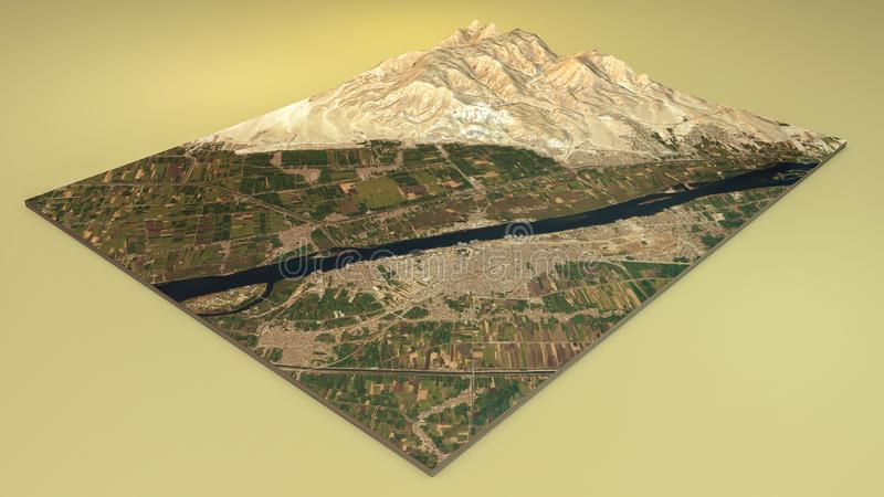 Satellite view of Luxor. Split in 3d of Luxor city and archaeological sites. 3d rendering. Tourism and places to visit in Egypt. Tourist Board. All the images stock illustration