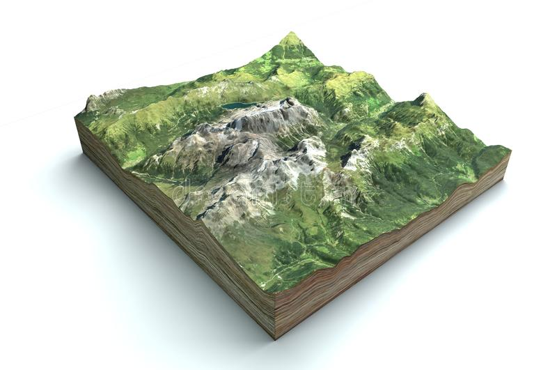 Satellite view of the Marmolada, Dolomites, mountain range of the Alps, 3d render. Alpine landscape, section of land in 3d. Italy vector illustration