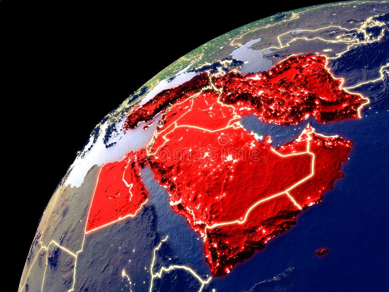 Satellite view of Middle East on Earth vector illustration