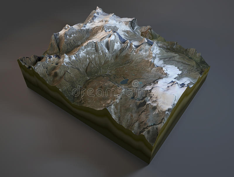 Satellite view of Mountain Matterhorn in Switzerland, Cervino, Italy royalty free illustration