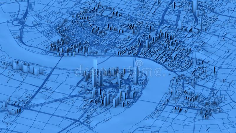 Satellite view of Shanghai, map of the city with house and building. Skyscrapers. China stock photography
