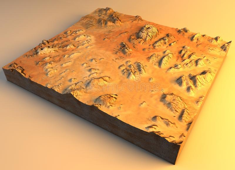 Satellite view of the Wadi Rum, Valley of the Moon, it is a valley cut into the sandstone and granite rock in southern Jordan stock illustration