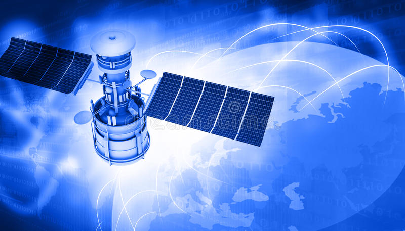 Satelliten, die um Erde fliegen lizenzfreie stockfotografie