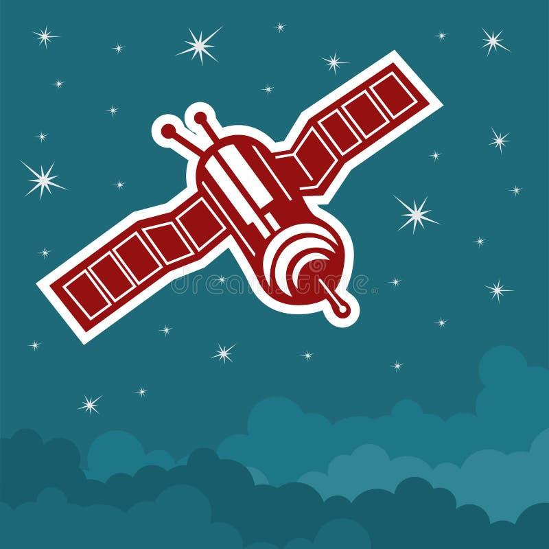 Satelliten i himlen stock illustrationer