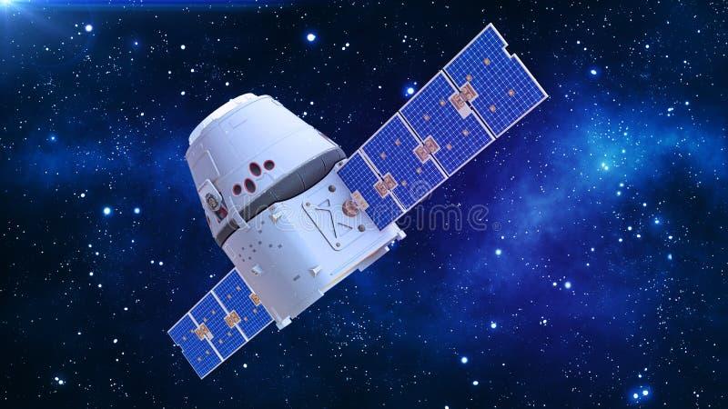 Satelliten i utrymme, kommunikationssatelliten med kapseln och solpaneler i kosmos med stjärnor i bakgrunden, 3D framför royaltyfri illustrationer