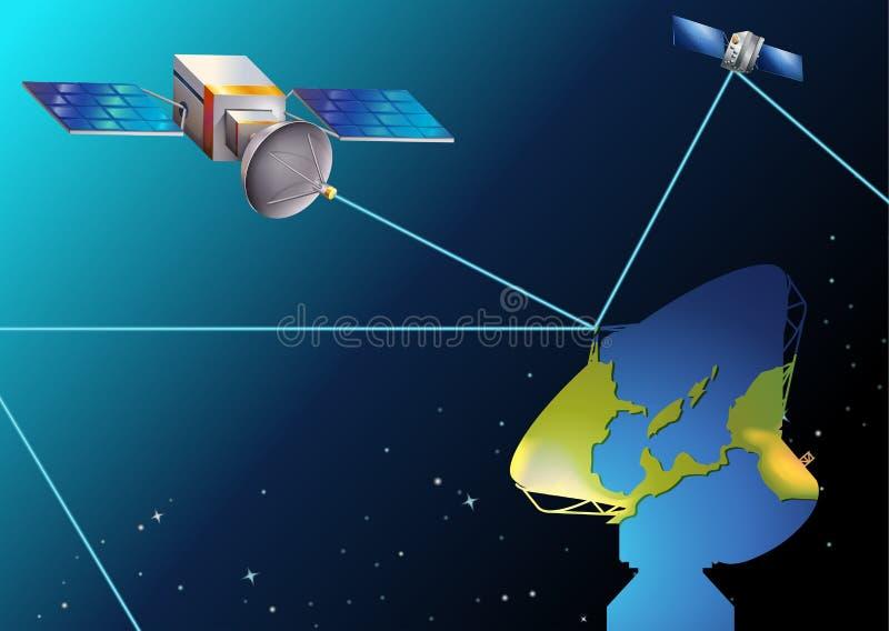 Satelliten nähern sich Erde lizenzfreie abbildung