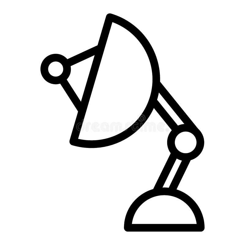 Satellitenantennenlinie Ikone Sputnikantennen-Vektorillustration lokalisiert auf Weiß Satellitenschüsselentwurfs-Artdesign vektor abbildung