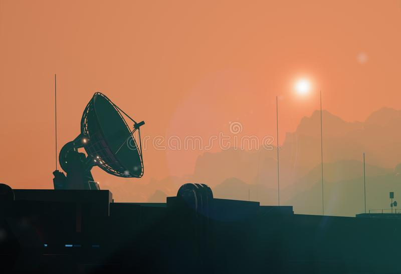 Satellitenantennenteller, niedriges Schattenbild des Raumes lizenzfreie abbildung