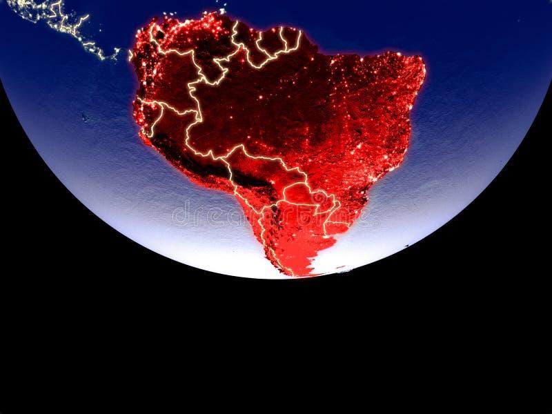 Satellitenbild von Südamerika vom Raum nachts Schön ausführliche Plastikplanetenoberfläche mit sichtbaren Stadtlichtern 3d lizenzfreie abbildung