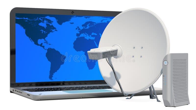 Satelliteninternet-Zugangskonzept Laptop mit Kommunikationssatellitenschüssel und Satellitenmodem, Wiedergabe 3D lizenzfreie abbildung