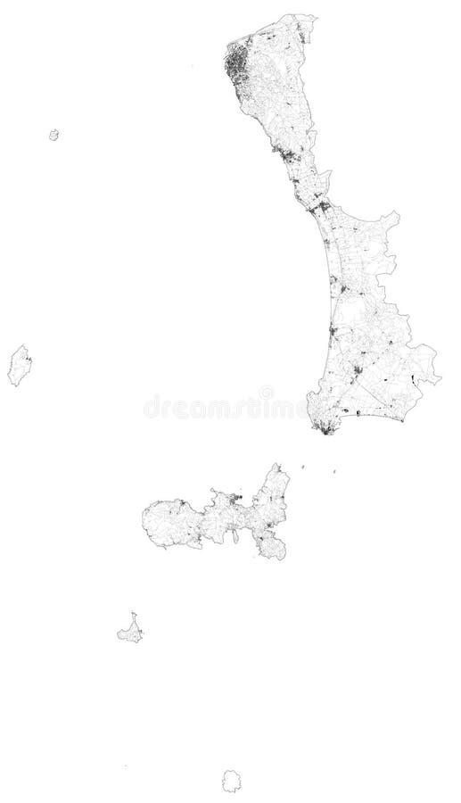 Satellitenkarte der Provinz Livorno, Städte und Straßen, Gebäude und Verbindungsstraßen der umliegenden Gebiete Toskana, Italien lizenzfreie abbildung