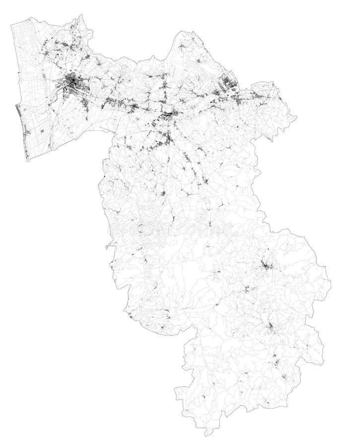 Satellitenkarte der Provinz Pisa, Städte und Straßen, Gebäude und Verbindungsstraßen der umliegenden Gebiete Toskana, Italien stock abbildung