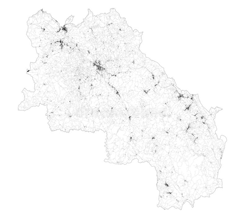 Satellitenkarte der Provinz Siena, Städte und Straßen, Gebäude und Verbindungsstraßen der umliegenden Gebiete Toskana, Italien vektor abbildung