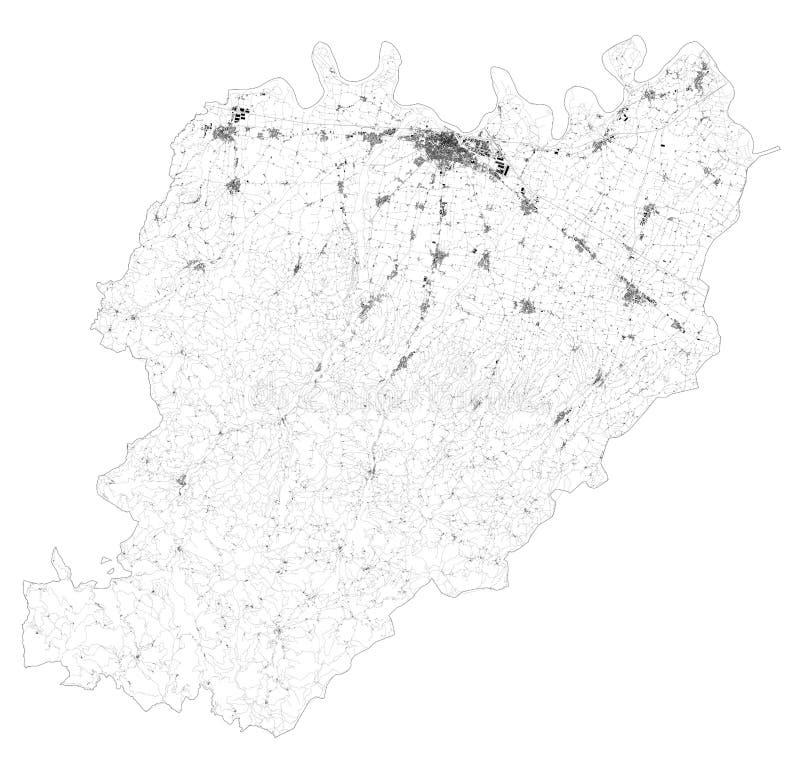 Satellitenkarte der Städte und Straßen der Provinz Piacenza, Gebäude und Verbindungsstraßen Region Emilia-Romagna, Italien stock abbildung