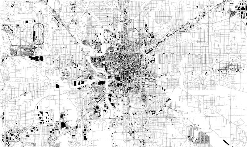 Satellitenkarte von Indianapolis, Indiana, USA, Stadtstraßen vektor abbildung