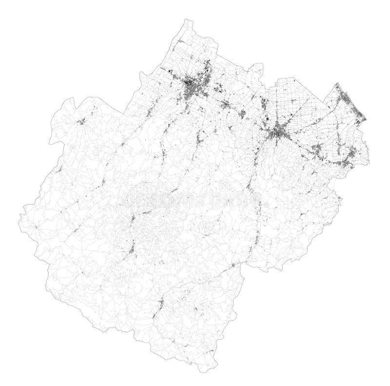 Satellitenplan der Provinz Forli-Cesena Städte und Straßen, Gebäude und Verbindungsstraßen Emilia-Romagna Italien stock abbildung