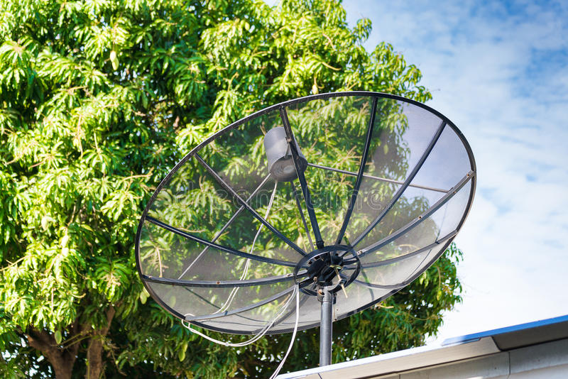 Satellitenschüssel auf dem Dach mit blauem Himmel und Baum stockfotografie