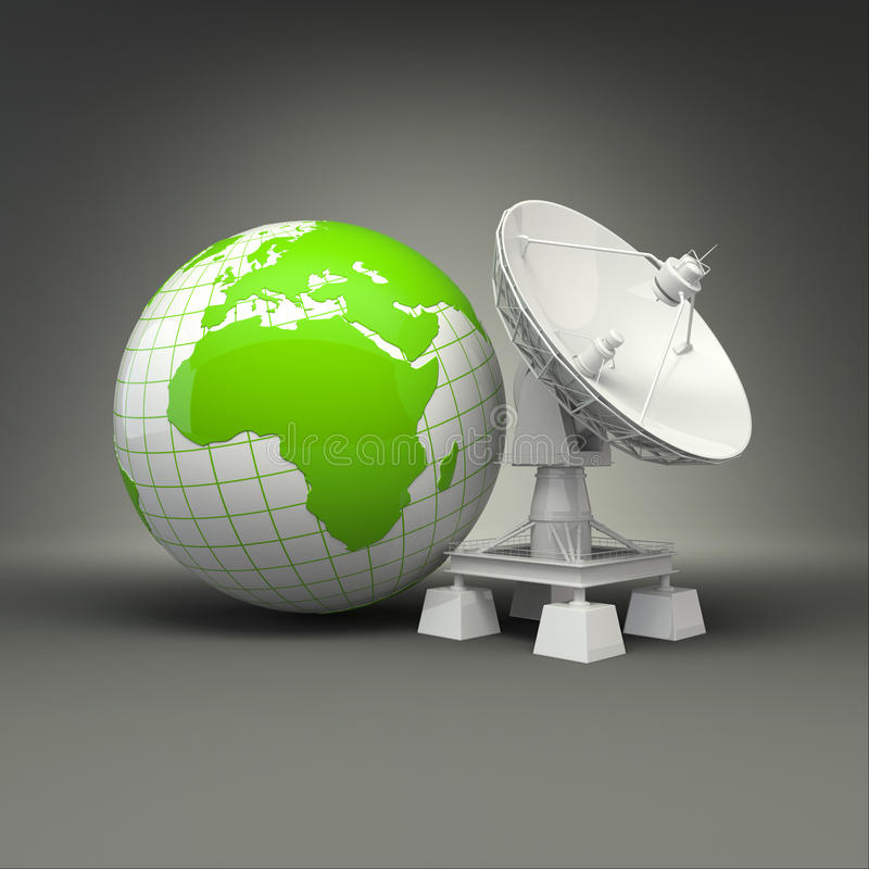 Satellitenschüssel und Erde auf grauem Hintergrund vektor abbildung