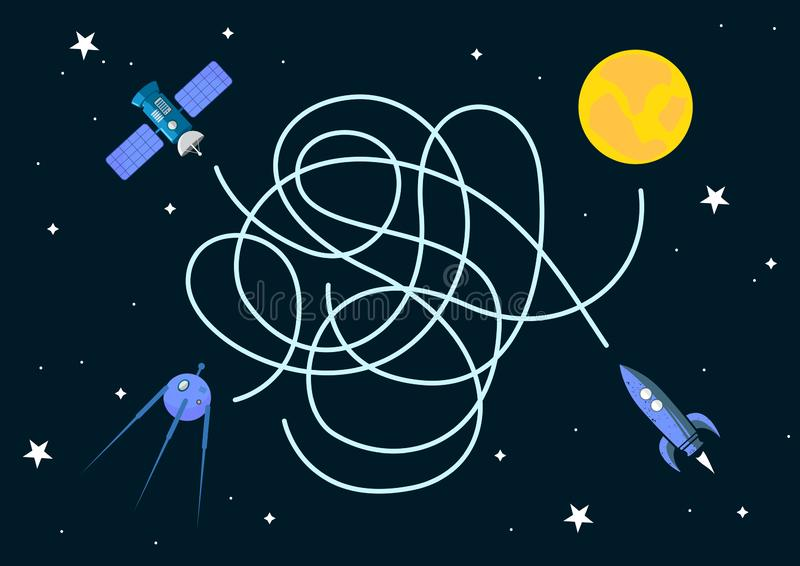 Satelliter och lek för rymdskepplabyrintlabyrint med 3 spelare Grunda solen Duva som symbol av f?r?lskelse, pease royaltyfri fotografi