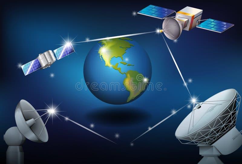 Satelliter som omger planetjorden vektor illustrationer