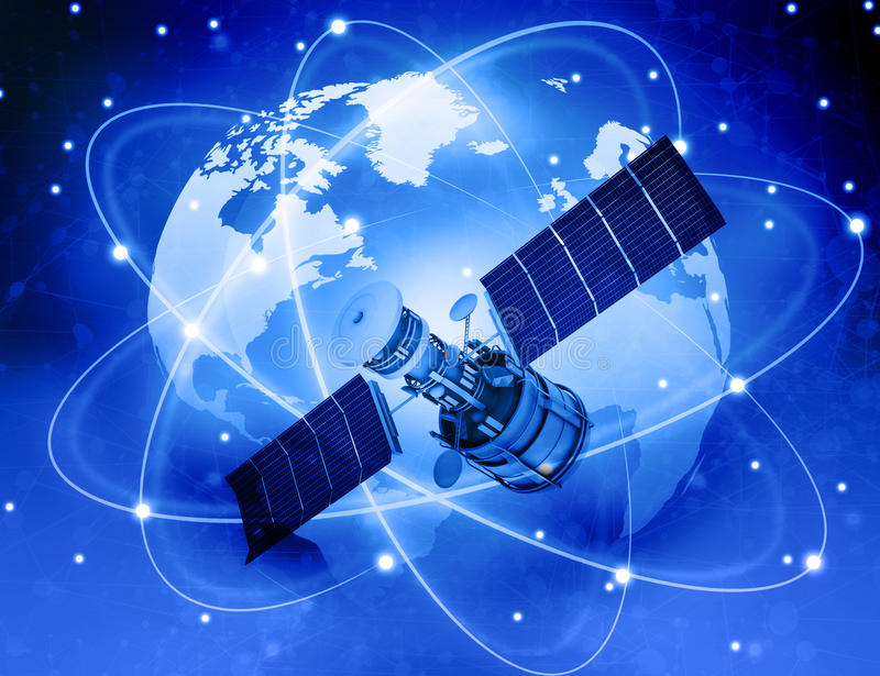 Satellites connection and earth stock illustration