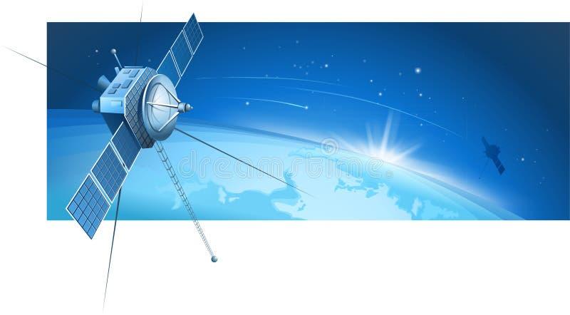 Satellites et étoiles filantes illustration stock