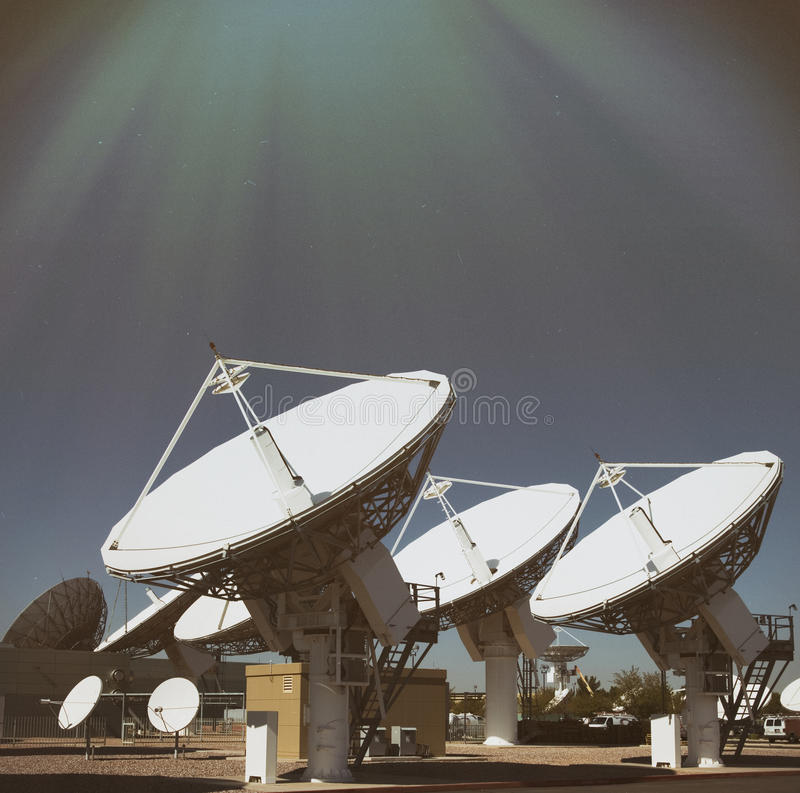 Satellites pointing into sky royalty free stock images