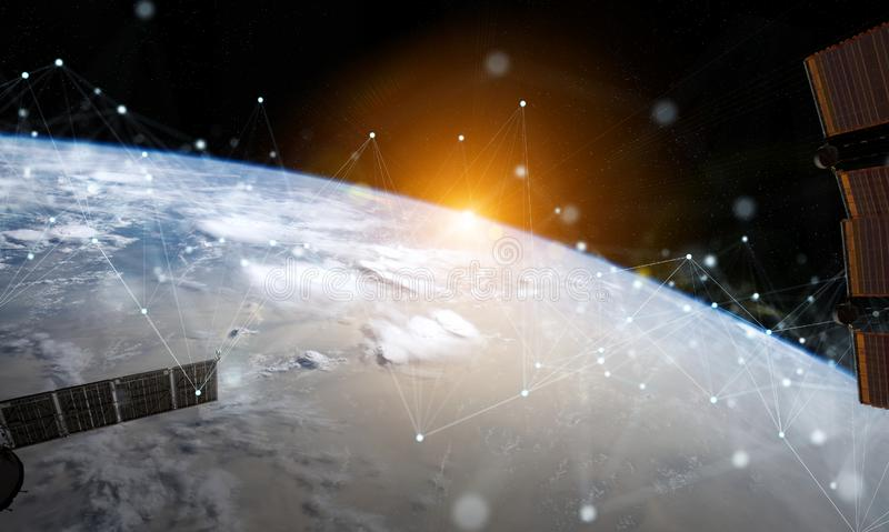 Satellites sending datas exchanges and connections system over the globe 3D rendering elements of this image furnished by NASA. Satellites sending datas vector illustration