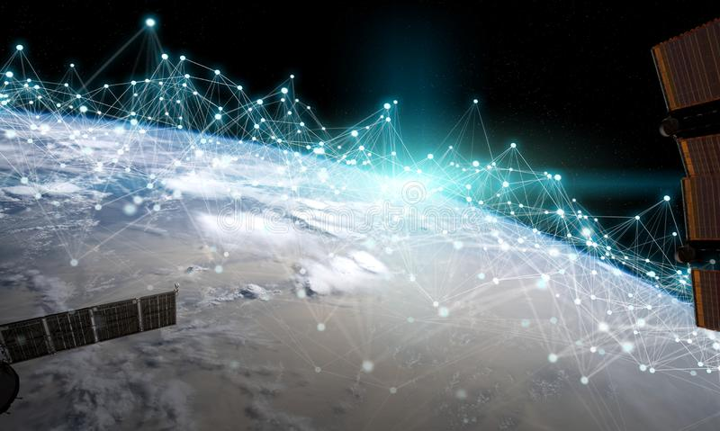 Satellites sending datas exchanges and connections system over the globe 3D rendering elements of this image furnished by NASA. Satellites sending datas stock illustration