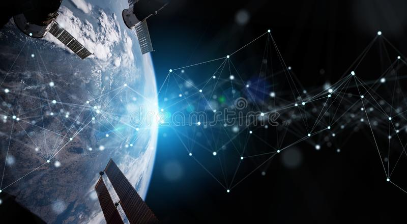 Satellites sending datas exchanges and connections system over the globe 3D rendering elements of this image furnished by NASA. Satellites sending datas royalty free illustration