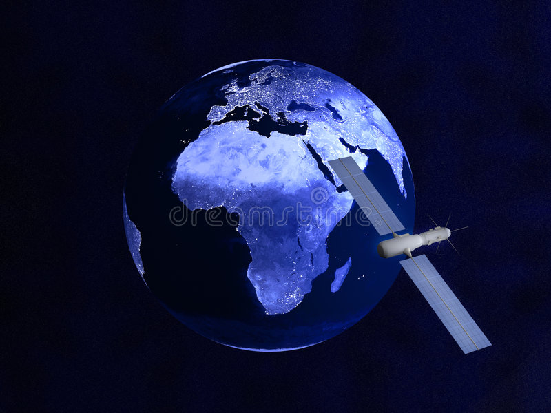 Satelllte sopra un globo notturno illustrazione vettoriale