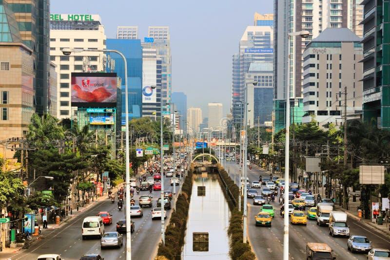 Sathon路,曼谷 免版税库存图片